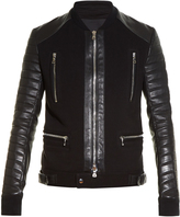 Balmain Quilted leather-sleeved biker jacket