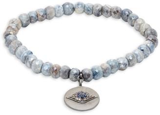 Bavna Sterling Silver, Coated Sapphire, Diamond & Blue Sapphire Bead Bracelet