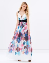 Little Mistress Watercolour Cut-Out Maxi Dress