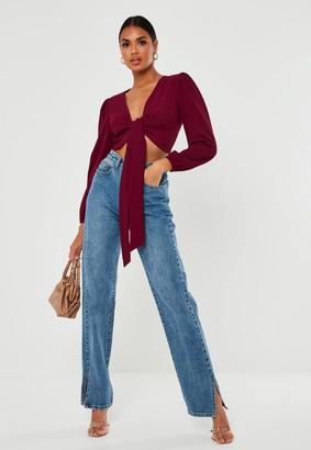 Missguided Petite Burgundy Tie Front Crop Top