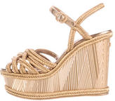 Chanel Metallic Woven Wedges