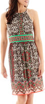 London Times London Style Collection Sleeveless Border Print Halter Dress - Petite