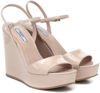 Prada Patent-leather wedge sandals