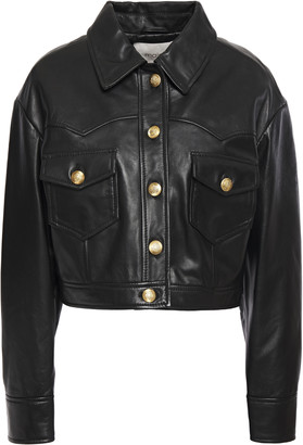 Maje Bacchu Cropped Leather Jacket