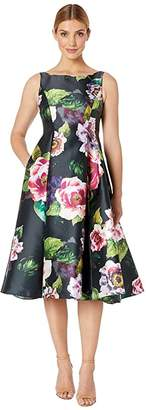 Adrianna Papell Tea Length Printed Floral Mikado Fit and Flare Dress (Black Multi) Women's Dress