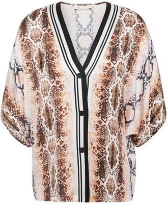 Maje Lomil Snake-print Satin Shirt