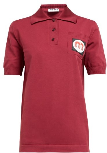 Miu Miu Logo Patch Technical Knit Polo Shirt - Womens - Burgundy