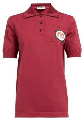 Miu Miu Logo-patch Technical-knit Polo Shirt - Womens - Burgundy