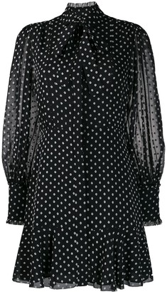 Alexis tie neck polka dot print dress