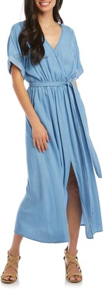 Karen Kane Wrap Front Chambray Dress