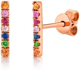 Ron Hami 14K Rose Gold Multi-Colored Gemstone Bar Stud Earrings