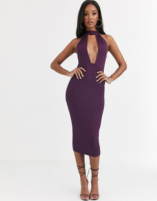Asos Design DESIGN going out deep plunge midi dress-Purple