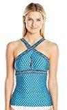 Jantzen Women's Wow Factor Over the Shoulder High Neck Crisscross Tankini