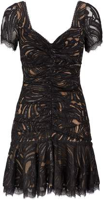 Jonathan Simkhai Metallic Lace Ruffle Mini Dress