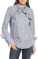 Kenneth Cole New York Women's Ruffle Poplin Shirt