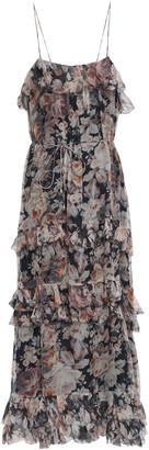 Zimmermann Floral-print Silk-georgette Midi Dress