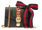 Gucci Sylvie Mini Canvas-paneled Leather Shoulder Bag - Black