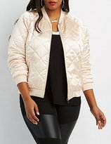 Charlotte Russe Plus Size Quilted Satin Bomber Jacket