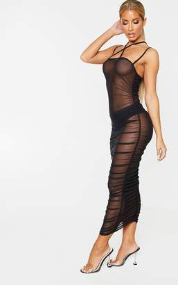 PrettyLittleThing Brown Leopard Print Strappy Sheer Mesh Ruched Midaxi Dress