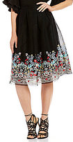Gianni Bini Amelia Embroidered Mesh Midi Skirt