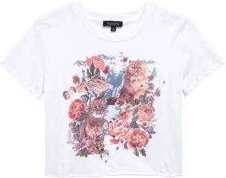 Cat Floral Graphic Tee