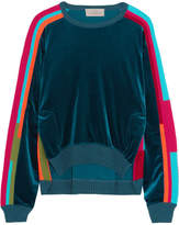 Preen by Thornton Bregazzi Anouk Color-block Velour And Cotton-blend Sweatshirt - Indigo