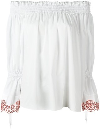 Alexander McQueen Smocked Off-The-Shoulder Blouse
