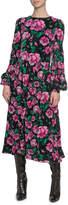 Marc Jacobs Runway) Floral-Print Velvet Blouson-Sleeve Dress