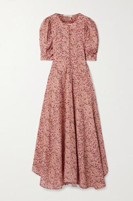 DÔEN Laurel Floral-print Cotton-blend Midi Dress - Pink