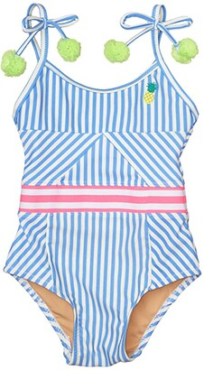 Shade Critters Cutout Back One-Piece Pinstripe Pineapple (Infant/Toddler) (Blue) Girl's Swimsuits One Piece