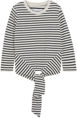 Current/Elliott The Birkin Tie-front Striped Slub Cotton-blend Jersey Top