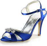 Elegantpark EP2011 Women Evening Prom Sandals High Heel Rhinestones Slingbacks Satin Bridal Wedding Shoes US 8