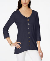JM Collection Button-Trim V-Neck Top, Only at Macy's