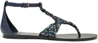 Tory Burch Logo-embellished Floral-print Twill And Leather Sandals