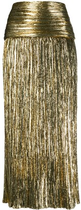 Saint Laurent Metallic-Effect Pleated Skirt