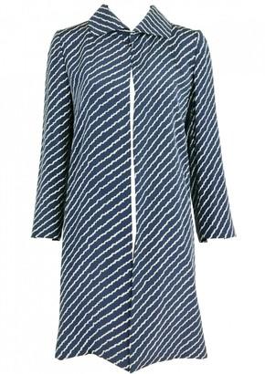 Saint Laurent Navy Silk Coat for Women Vintage