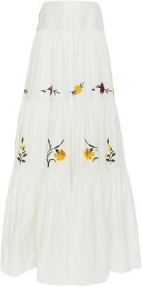 Erdem Adrina Tiered Floral-Embroidered Cotton-Silk Maxi Skirt