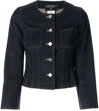 Chanel Pre Owned Collarless Buttoned Denim Jacket
