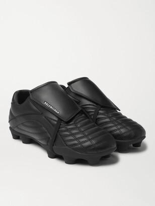 Balenciaga Soccer Logo-Print Faux Leather Sneakers