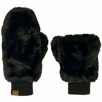C.C CC Soft Faux Fur Fuzzy Lined Flip Up Down Top Fingerless Mitten Gloves - Black - One Size