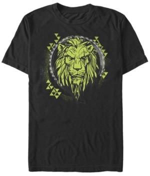 Disney Men's The Lion King Live Action Scar Geometric Circle, Short Sleeve T-Shirt