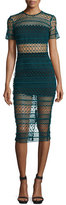 Karina Grimaldi Ben Crochet Two-Piece Illusion Dress, Verde