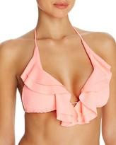 Shoshanna Ruffled Halter Bikini Top