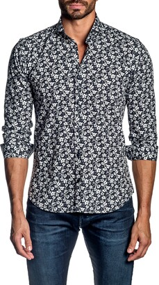 Jared Lang Trim Fit Floral Button-Up Shirt