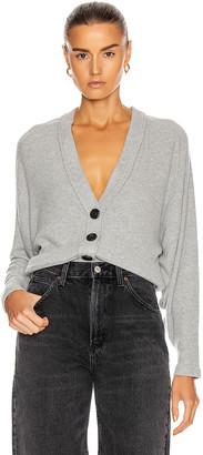 Enza Costa for FWRD Sweater Knit Dropped Cardigan in Heather Grey | FWRD