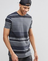 Asos Longline T-Shirt With Geo-Tribal Print In Washed Black