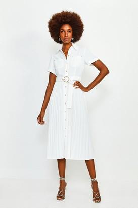 Karen Millen Plain Coloured Pleated Shirt Dress