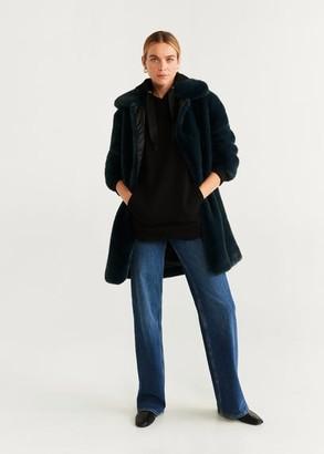 MANGO Faux fur coat emerald green - XS - Women