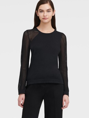 DKNY Women's Sweater With Mesh Sleeves - Black - Size XS