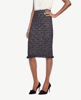 Ann Taylor Petite Fringe Tweed Pencil Skirt